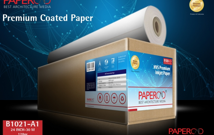 kertas plotter PAPERCAD Premium Coated Paper 128gr 24″ x 30m (A1)