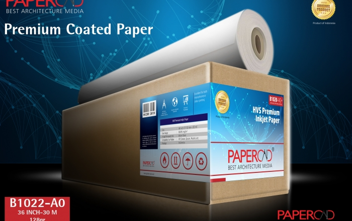 kertas plotter PAPERCAD Premium Coated Paper 128gr 36″ x 30m (A0)